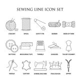 Sewing line icon set. Sewing icons. Embroidery equipment. Bobbin, safety pin, needle, zipper, pincushion and other things for stitching. Line art illustration Stock Illustration