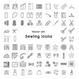 Sewing line icons set. Tailoring supplies and accessories. Sewing line icons set isolated on white background. Tailoring supplies and accessories. Vector Stock Image