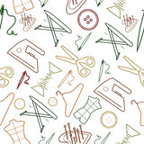 Sewing line style seamless pattern for sewing business. Colorful line icons Stock Photo