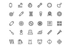 Sewing Line Vector Icons 3 Royalty Free Stock Photography