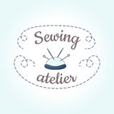 Sewing logo template with needle and stitch. Cute vintage design element for tailor shop, studio, atelier, needlework, handmade workshop, store, handiwork Stock Photos