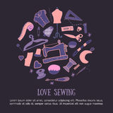 Sewing love doodle illustration. Handicrafted logo with needle, sewing machine, sewing pin, yarn. Royalty Free Stock Photos