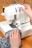 Sewing on the machine Royalty Free Stock Images