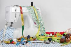 Sewing machine. Objects and helpful own a sewing amateur for various sewing jobs stock photography