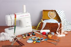 Sewing machine. Objects and helpful own a sewing amateur for various sewing jobs royalty free stock images