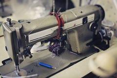 Sewing machine. Manual sewing machine at work Stock Photo