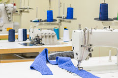 Sewing machine in the atelier room. Royalty Free Stock Images