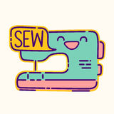 Sewing machine badge, cute kawaii flat design style sign, dressmaker icon, sew lettering, vector cartoon character.  royalty free illustration