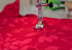 Sewing machine and cloth Royalty Free Stock Image