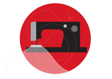 Sewing machine with cloth, needle and thread. In circle, vector illustration Royalty Free Stock Images