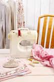 Sewing machine and colorful fabrics Stock Images