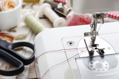 Sewing machine and dressmakers accessories Royalty Free Stock Photo