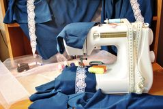 The sewing machine and fabric Stock Photo