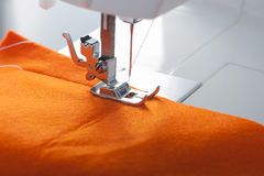 Sewing machine and fabric Royalty Free Stock Photography