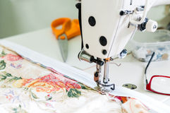 Sewing Machine and Fabric Closeup Royalty Free Stock Photos