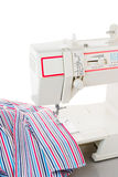 Sewing machine and fabric. Isolated Royalty Free Stock Photography