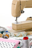 Sewing machine, fabric and measurement tape Stock Images