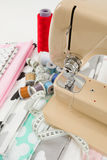 Sewing machine, fabric and measurement tape Royalty Free Stock Image