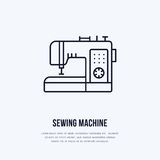 Sewing machine flat line icon, logo. Vector illustration of tailor supplies for hand made shop or dressmaking service.  Royalty Free Stock Image