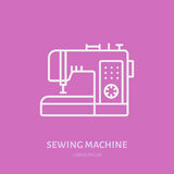 Sewing machine flat line icon, logo. Vector illustration of tailor supplies for hand made shop or dressmaking service.  Royalty Free Stock Photography