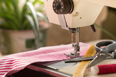 Sewing machine. Hobby sewing fabric as a small business concept Royalty Free Stock Image