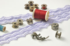 Sewing machine items with lack line Royalty Free Stock Image