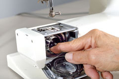 Sewing machine maintenance. Stock Images