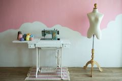 Sewing machine and mannequin. No body Stock Photos