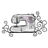 Sewing machine modern, tro sketch for your design Royalty Free Stock Images