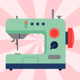 Sewing machine old vintage equipment design tool craft needle fashion handmade vector illustration. Sewing machine old vintage equipment design tool and thread Royalty Free Stock Photos
