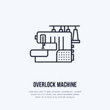 Sewing machine overlock flat line icon, logo. Vector illustration of tailor supplies for hand made shop or dressmaking. Service Royalty Free Stock Image