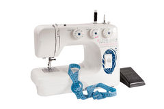 Sewing machine with pedal white background Stock Photos
