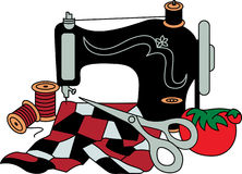 Sewing Machine and Quilt Royalty Free Stock Photos