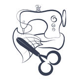 Sewing machine and scissors silhouette Royalty Free Stock Images