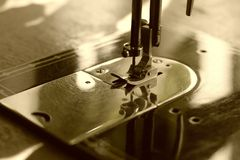 Sewing machine in sepia Royalty Free Stock Photo