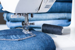 Sewing Machine Sew Jeans Fabric. Stock Image