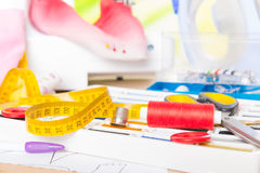 Sewing machine and sewing accessories Stock Photo