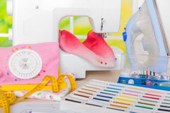 Sewing machine and sewing accessories Stock Images