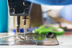 Sewing machine in Sewing Process.  stock image
