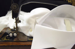 Sewing machine on a shirt cuff Royalty Free Stock Photos