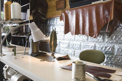 Sewing Machine In Shoemaker Workshop Stock Photos