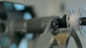 Sewing machine - spinning a bobbin stock footage