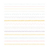 Sewing machine stitches. Stitches. Set of 14 variations Royalty Free Stock Photos