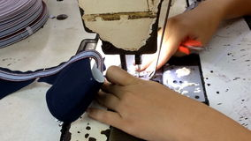 Sewing machine stitching on textile stock video footage