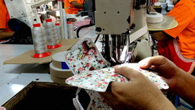 Sewing machine stitching on textile stock video