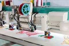 Sewing machine on textile fabric, nobody Stock Photography
