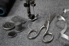 Sewing machine with tools Stock Photo