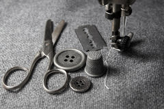 Sewing machine with tools Royalty Free Stock Image