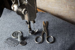 Sewing machine with tools Stock Photography