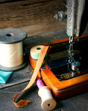The sewing machine and tools. Royalty Free Stock Images